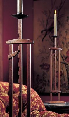 I can see so many possibilities for this idea, beyond candles; tent support, banner mast, sign post, and more. - Ratcheting Candlestand Woodworking Plan from WOOD Magazine