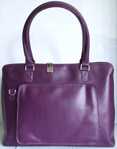 Women's Purple Leather Laptop Bag