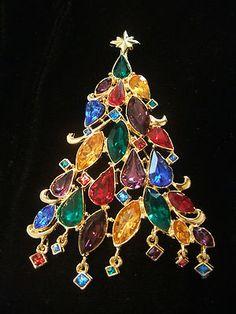 Large Rhinestone Christmas Tree Pin Christopher Radko | eBay