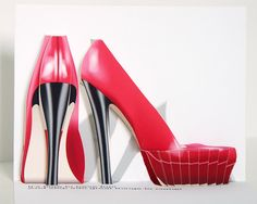 3D Pop up High heel shoes birthday card red by CardNotions.etsy.com
