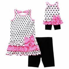Dollie & Me Polka-Dot Tank & Bike Shorts Set - Girls 4-6x