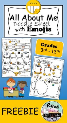 """This doodle """"All About Me"""" freebie is perfect for back to school. Emojis are…"""
