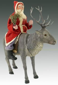 Santa Claus, Riding a Reindeer Candy Container. The reindeer head removes,to fill body with candy. Christmas Moose, Antique Christmas, Father Christmas, Christmas Images, Christmas Candy, Merry Christmas, Christmas Decorations, Primitive Santa, Primitive Christmas