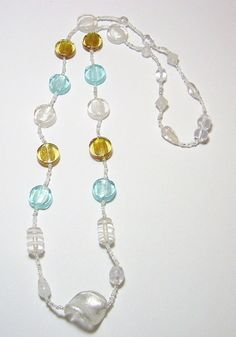 Silver Gold and Blue Glass Bead Necklace by tzteja on Etsy, $20.00