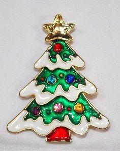 Christmas Tree Crystal Pin
