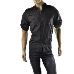 Calvin Klein Shirt Mens Roll Up Sleeve Utility Button Up T Shirts Size M $69 NEW    Get Dressed at http://ImageStudio714.com http://stores.ebay.com/ImageStudio714