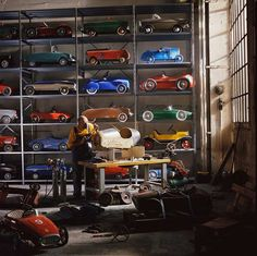Pedal cars...we have a few of these in the garage for the lil' guy.  http://www.thefancy.com/things/269741909/Pedal-Toy-Cars