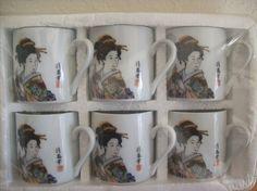 12pc. Geisha Cup and Plate Set. - Tea Sets