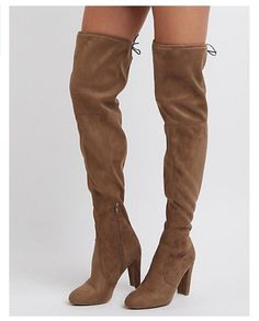 f3680d4ca Womens Tie Back Over The Knee Block Heel Boots Taupe - Taupe Boot - Ideas of