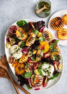 Nectarine Salad, Burrata Salad, Mango Salad, Nectarine Recipes, Fruit Recipes, Salad Recipes, Cooking Recipes, Healthy Recipes, Roast Pumpkin Salad