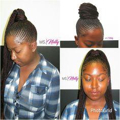 Small feeder ponytail Small Feed In Braids, Feed In Braids Ponytail, Cornrow Ponytail, Braided Ponytail Hairstyles, Bun Braid, Braided Mohawk, Braid Hair, Hairdos, Ghana Braids Hairstyles
