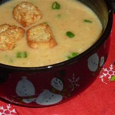 Beer Cheese Soup V Allrecipes.com Perfection if you add some nutmeg and Worcestershire.
