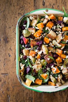 This fall panzanella salad is full of roasted vegetables, dried fruit and nuts, toasted gluten free bread and drizzled with a maple syrup herb vinaigrette.