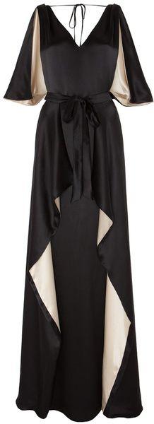 Temperley London Long Bicolour Alexandria Dress in Beige (black/cream)