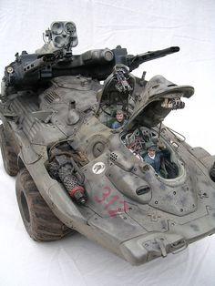 Military Vehicle, Mark Stevens Honda CBR Nagasaki future, concept, futuristic motorcycle Little VW camper van . Mark Stevens, Sci Fi Models, Military Equipment, Japanese Models, Armored Vehicles, War Machine, Dieselpunk, Gi Joe, Plastic Models