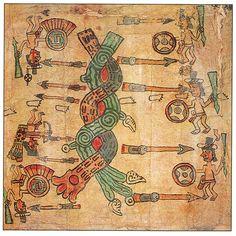 Representación del ideograma atl-tlachinolli Códice de Huamantla. Fotografia de Gerardo Montiel Klint / Raíces.