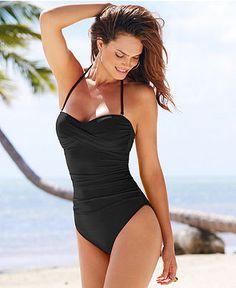 La Blanca Swimsuit, Ruched Bandeau One-Piece - Swimwear - Women - Macy's