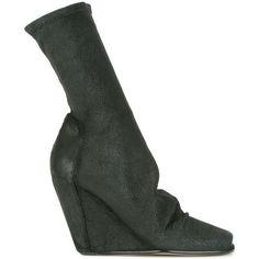 Rick Owens Sock Wedge Booties (90,195 INR) ❤ liked on Polyvore featuring shoes, boots and ankle booties