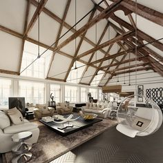 House With Vaulted Ceiling Featured Exposed Wooden Beams And Metal Beams : Amazing Wooden Ceiling Exposed Beams Style At Home, Loft Spaces, Living Spaces, Open Spaces, Living Rooms, Small Spaces, Interior Architecture, Interior And Exterior, Metal Beam
