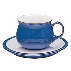 Denby Imperial Blue Tea Cup.  A beautiful, ergonomic design to comfort and warm on a cold winter's day (when full of hot chocolate, of course!)