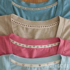 Sewing Techniques Couture T-Shirt Twill Tape Neckline Tutorial - Sewing Basics, Sewing Hacks, Sewing Tutorials, Sewing Patterns, Sewing Tips, Sewing Ideas, Clothes Patterns, Formation Couture, Serger Sewing