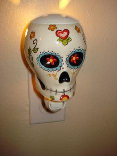 Day Of The Dead Sugar Skull Night Light Scent Warmer Wall - My Sugar Skulls