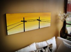 Black Powerlines over Yellow Sky by CateNell on Etsy