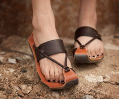 Black Handmade Sandals / First Layer True por YGMoriginaldesign