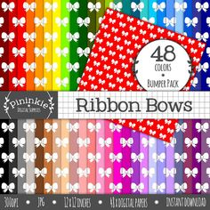 Ribbon Digital Paper Bows, Bow Scrapbooking Paper Pack, Photo Background, Party Digital, Printable Paper, Instant Download, Commercial Use