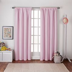 ATI Home Polka Dot Woven Blackout Rod Pocket Top Curtain Panel Pair (54X84    84 Inches   Bubble Gum Pink)