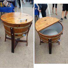 Whiskey Barrel Table, Whiskey Barrel Furniture, Wine Barrels, Wooden Pallet Furniture, Diy Outdoor Furniture, Barrel Fire Pit, Wooden Cooler, Barris, Barrel Projects