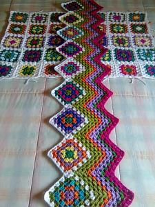 great use of granny squares and ripple crochet.