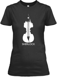 Sherlock Violin T-Shirt. . love this . with john & shezza profiles and london skyline making the violin outline