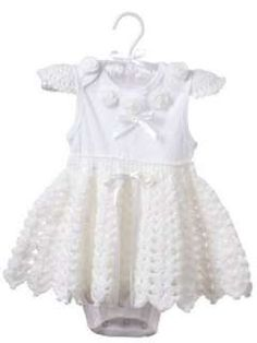 Easy Baby Fashions Crochet Pattern Onesies Trim Dress Girl Boy Gift