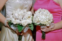 Bouquet of cream roses and sea shells.     Bouquet of cream hydrangias and sea shells