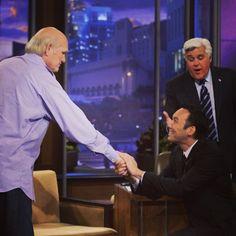 Steve Byrne meets his hero, Terry Bradshaw. Steve Byrne, Tonight Show, Hero