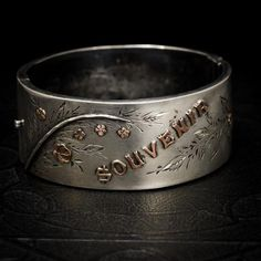 Wide silver bracelets such as this were at the height of fashion toward the end of the Victorian era. This c. 1880 bangle measures 1