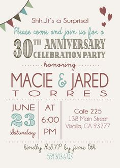 Anniversary Invitation Surprise 30th by KatersCustomDesigns, $15.00