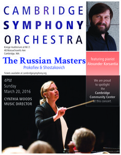 Conducted by Cynthia Woods, the Cambridge Symphony Orchestra presents works by Prokofiev and Shostakovich  at MIT's Kresge Auditorium on March 20, 2016.