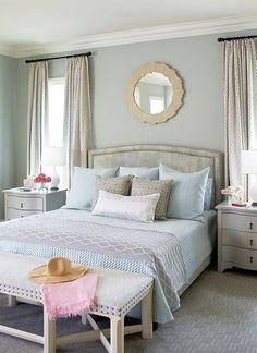 House of Turquoise: Andrew Howard Interior DesignPaint Info (all Benjamin Moore) Living room - Gray Sky Break room - Overcast Kitchen cabinets - White Diamond Stairway - Morning Dew above stairs, Sebring White and Brilliant White below stairs Bedroom - Gray Wisp by Benjamin Moore