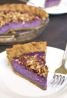 Purple Sweet Potato Pie With A Gingerbread Crust and Pecan Streusel | Refined sugar free. Can also be made gluten and dairy free!