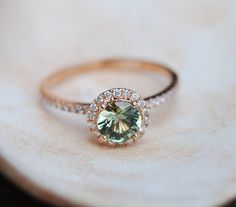 1ct Sparkling Green Tea sapphire ring 14k white gold engagement ring