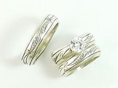 Sterling Silver Wedding Ring Set With CZ