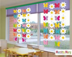 Bunny Garland for Easter Window Decor Classroom Window Decorations, School Decorations, Classroom Decor, Flower Decorations, Spring Decorations, Classroom Board, Kids Crafts, Preschool Crafts, Easter Crafts