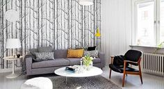 Woods wallpaper in modern living room
