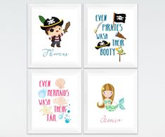 Pirate and mermaid personalized kids bathroom printable art set, custom kids bathroom wall art, kids bathroom decor download #BathroomTray Navy Bathroom Decor, Bathroom Wall Art, Bathroom Hooks, Bathroom Tray, Brown Bathroom, Gold Bathroom, Bathroom Printable, Printable Wall Art, Star Wars Nursery