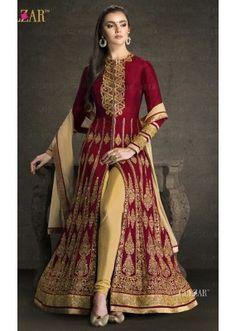 Wedding Wear Maroon & Beige Banglori Silk Slit Salwar Suit  - 1702