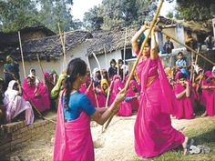 The Gulabi gang is a group of Indian women vigilantes and activists who visit abusive husbands & beat them up with laathis (bamboo sticks) unless they stop abusing their wives. They have also stopped child marriages and protested dowry and female illiteracy. The group, which the Indian media portray positively, was reported to have 20,000 members as of 2008, as well as a chapter in Paris, France.