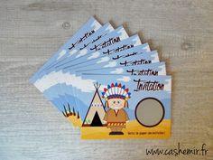Cartes invitation anniversaire garçon enfant, par lot de 8, cartes à gratter Indien : Cartes par cashemir