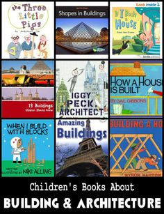 LITERACY: Books about building and architecture. Good choices for all ages! These books are sure to inspire some creative structures. Preschool Books, Preschool Classroom, Book Activities, Kindergarten, Science Books, Classroom Ideas, Block Center, Block Area, Atelier Architecture